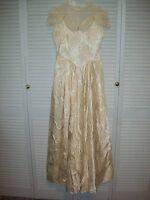 CREAM SHADE SATIN BROCADE WEDDING DRESS - ABOUT a SIZE 10/12