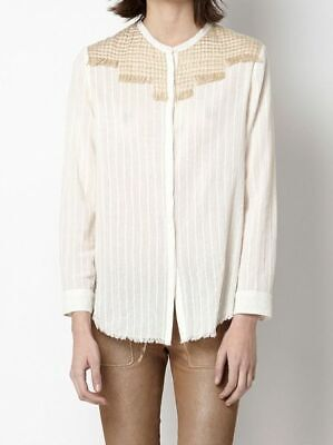 Hoss Intropia Anthropologie Fringes Shirt Blouse Top Ivory Buttondown S 179675
