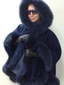"""""""Natalia """" Cashmere Hooded Navy Cape With Real Fur or Size"""