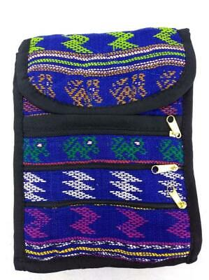 NEW Blue Boho Festival Guatemalan Hand Woven Tribal Mochila Crossbody Bag Small