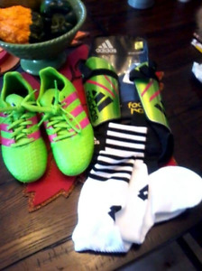 Girls Adidas Soccer shoes, shin guards