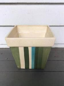 Striped glazed ceramic pot Oxley Brisbane South West Preview