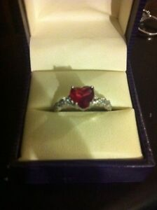 Beautiful 925 SS CZ Ruby heart