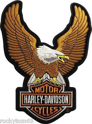 "Harley-Davidson Brown Up-wing Eagle Patch 10 1/2 x 7 3/4 "" LG EMB328394"
