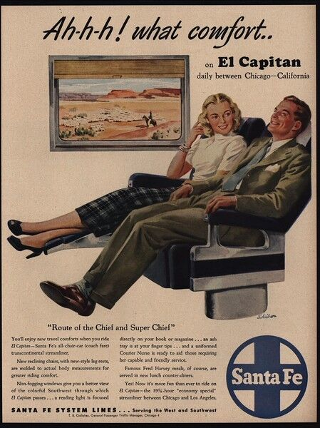 1948 SANTA FE EL CAPITAN Railroad Train - Chicago To California Art - VINTAGE AD