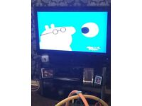 REDUCED!!! NEEDS GONE! LARGE BLACK GLASS TV STAND OVAL