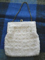 Vintage White Evening purse  covered in Seed Pearls