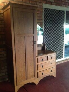 Antique wardrobe/dresser combo with mirror Scarborough Stirling Area Preview