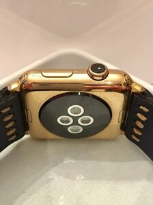 42MM 24K Gold Plated Apple Watch (Gen1) custom leather band West Island Greater Montréal image 7