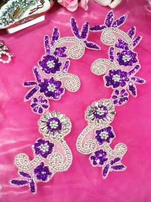 PURPLE SILVER MIRROR PAIR SEQUIN BEADED APPLIQUES FOR DANCE COSTUMES 0183 ](Costumes For Pairs)