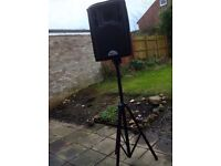 300 watts per side passive PA speakers stand & speakon cables X2