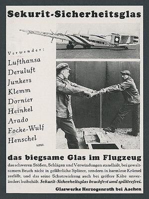 Sekurit-Sicherheitsglas Glaswerke Herzogenrath Lufthansa Junkers G38 D-2500 1934