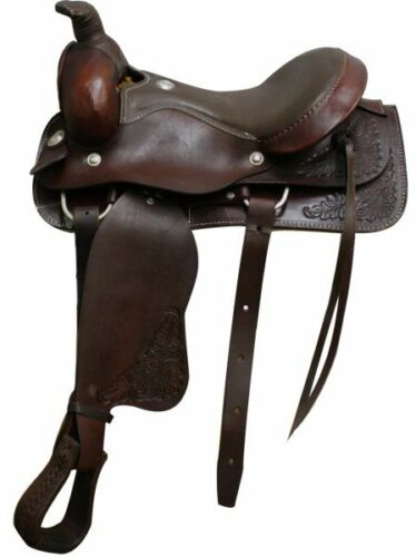 """16"""" Circle S Floral & Smooth Leather Roper SADDLE FQHB with ROPING WARRANTY"""