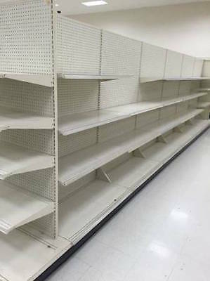 (USED SUPERMARKET GONDOLA SHELVING BEIGE AISLE SECTION)