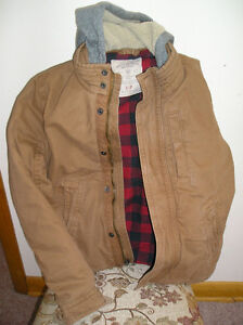 MENS AMERICAN EAGLE SIZE SMALL FLANNEL LINED HOODED WORKWEAR