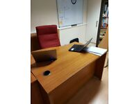 Single Executive Classic Curved Solid Oak Wood Effect Office Table Desks, £120