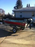 14 ft Aluminum Fishing Boat with 6 hp Evinrude