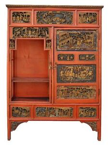 Cabinet chinois laqu rouge corail et sculpt fin xix me for Cabinet chinois meuble