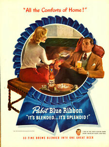 1947 full-page magazine ad for Pabst Blue Ribbon Beer