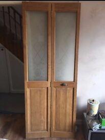 Wooden, stained glass, bi-folding door