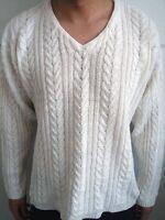 Winter White V-Neck Cable Sweater - Size L
