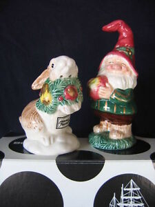 "FITZ & FLOYD ""WOODLAND HOLIDAY"" SALT AND PEPPER SHAKERS"