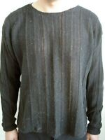 Black Round Neck Cable Sweater - Size L