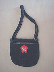 Doll-Clothes-Accessories-Small-Denim-Purse-with-Flower-for-18-Dolls