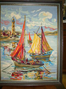 SAILBOATS AND LIGHTHOUSE FRAMED NEEDLEWORK PICTURE