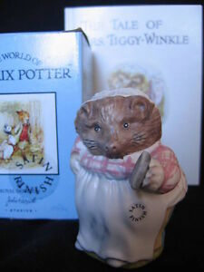 "JOHN BESWICK ""MRS. TIGGY-WINKLE"" FIGURINE  (SATIN) AND BOOK"