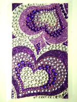 Bling Jewelry Crystal Gem Sticker - Purple Hearts