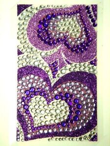 Bling Jewelry Rhinestone Sticker - Purple Hearts