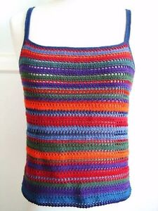 Rainbow Color Crochet Tank Top / Sleeveless / Cami