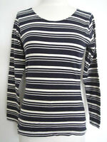 Club Monaco - Black / White Strip Long Sleeve Top
