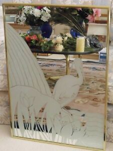 Etched Heron And Lily Pads Mirror Signed Gloria Eriksen