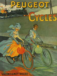 RACE-Bicycle-Train-Bike-Peugeot-Cycles-French-Fine-Vintage-Poster-Repro-FREE-S-H