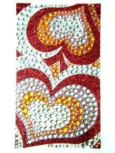 Bling Jewelry Rhinestone Sticker - Red Hearts