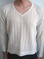 Oatmeal V-Neck Cable Sweater - Size L