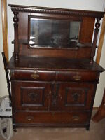 REDUCED TO CLEAR Vintage 1900's Oak Hutch $1000.00