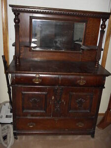 REDUCED TO CLEAR Vintage 1900's Oak Hutch $1000.00 FIRM