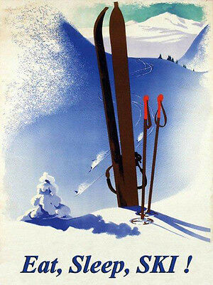 Eat Sleep Ski Winter Race Sport Skis Alps Mountain Vintage Poster Repro Free S/h