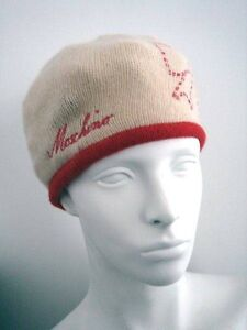Cream / Red Knit Beanie Hat by Moschino