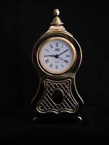 SOLID BRASS MINIATURE COLLECTIBLE CLOCK IN BOX