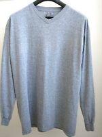 Grey Long-Sleeved V-Neck T Shirt