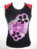 Black Pink Flower Tank Top / Sleeveless / Cami