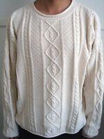 Winter White Round Neck Cable Sweater - Size L