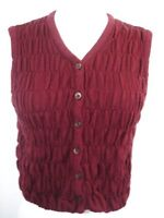 United Colors of Benetton - Burgundy Red Button-Up Knit Vest