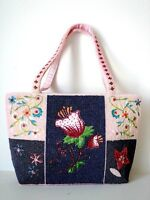 Pink Beaded Handbag Tote Bag with Floral Embroidery