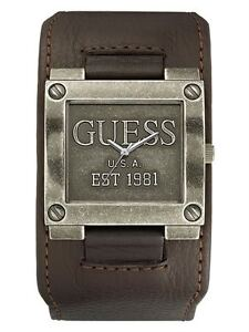 NEW GUESS G LOGO USA MEN WATCH BROWN LEATHER CUFF STRAP SS STAINLESS STEEL METAL