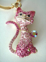 Gold Metal Kitty Cat Crystal Rinestone Charm Keychain Keyring